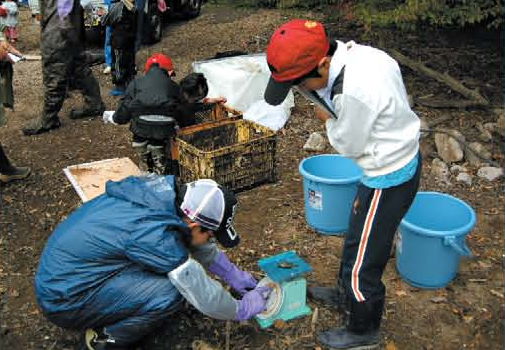 Supporting a invasive fish removal activity[Unzen]